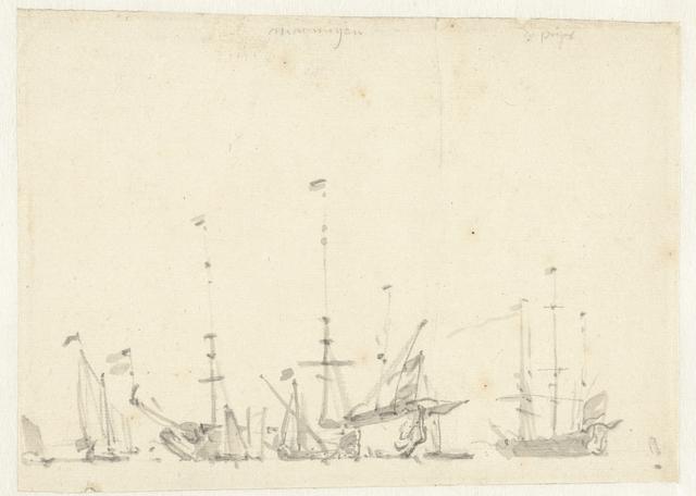 Buitgemaakte Engelse schepen bij Hellevoetsluis