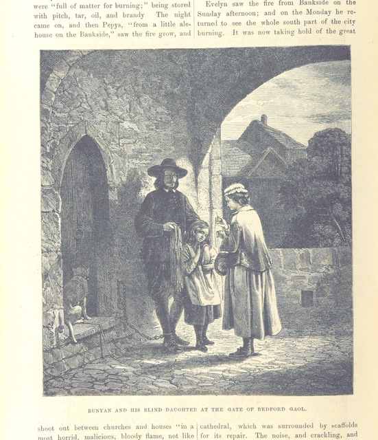 """Bunyan and his blind daughter at the gate of Bedford Gaol from """"The National and Domestic History of England ... With numerous steel plates, coloured pictures, etc"""""""