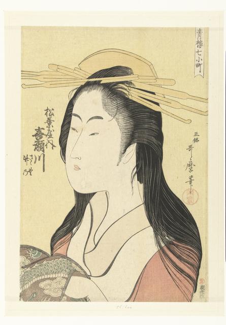 Busteportret van de courtisane Kisegawa uit het Matsubaya huis.