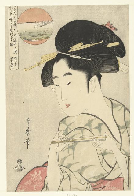 Busteportret van jonge vrouw met waaier
