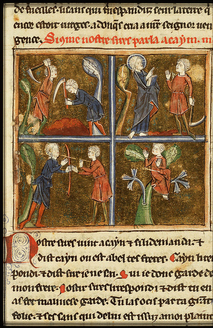 Cain and Abel farming; Cain slays Abel (1st of 4)