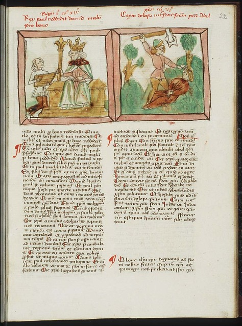 Cain slays Abel with a spade