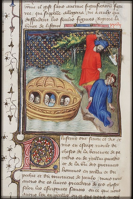 Cain slays Abel with a spade; The Great Flood: the ark of Noah floating on the waters