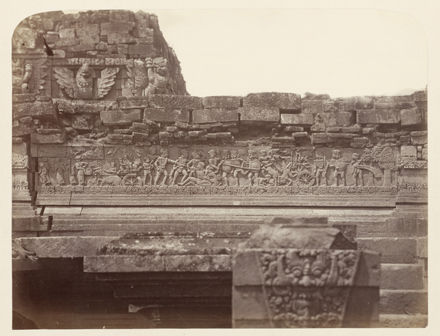 Candi Panataran (temple Complex), Main Temple; Krishnayana relief no. 21 (the final battle in which Krishna is victorious), second narrative register, west side. Panataran, Blitar district, East Java province, 1323-1347 AD, Indonesia
