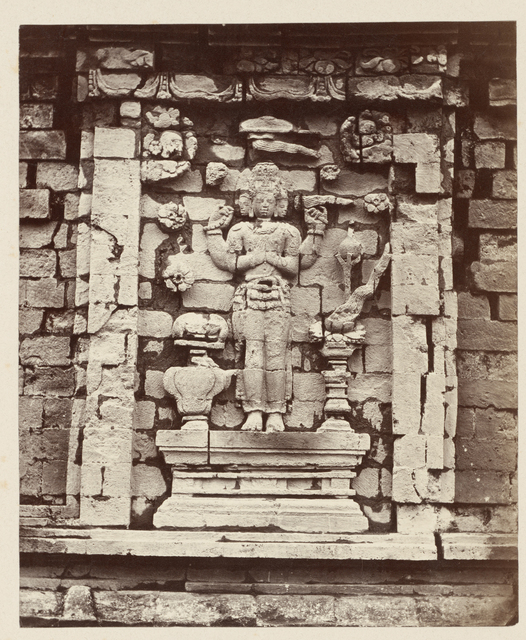 Candi Srikandi, details of the southern niche decorated with a four-armed Brahma. Dieng PLateau, Wonosobo District, Central Java province, 8th-9th century Indonesia