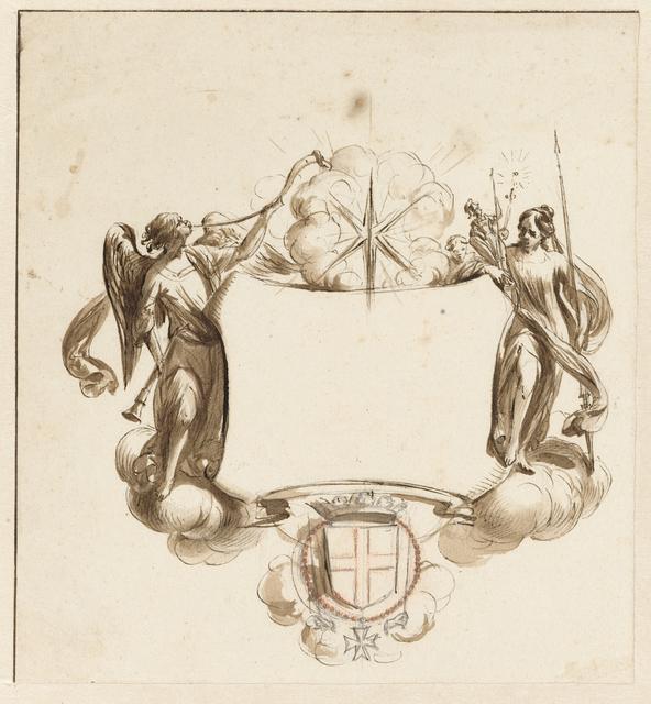 Cartouche met Fama en de Goddelijke en Menselijke Wijsheid