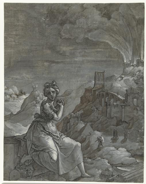 Cassandra treurt over de verwoesting van Troje