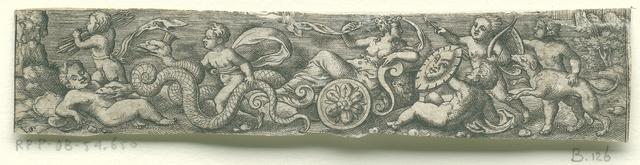 Ceres of Cybele (?) in een slangenwagen met putti