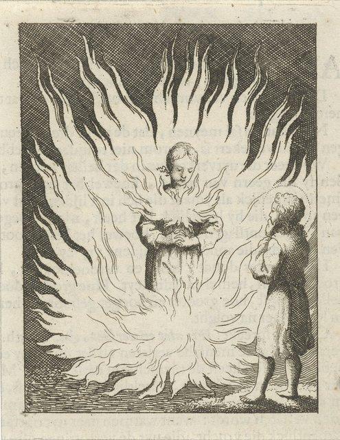 Christus aanschouwt de gepersonifieerde ziel die door vlammen wordt omringd