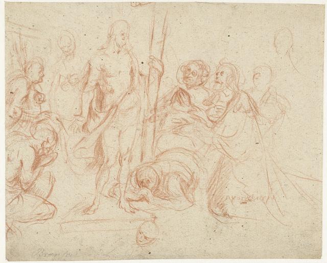 Christus met het kruis, omringd door knielende figuren