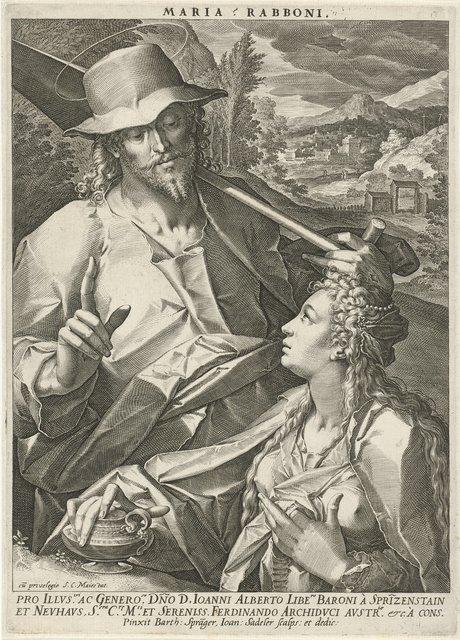 Christus verschijnt als tuinman aan Maria Magdalena (Noli mi tangere), naar Bartholomeus Spranger