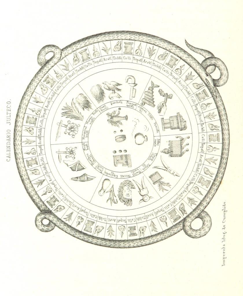 """circle from """"Historia de la Conquista de México ... traducida al Español por J. Navarro. (Suplemento. Notas y esclarecimientos ... por J. F. Ramirez ... Esplicacion de las laminas [by I. R. Gondra], etc"""""""
