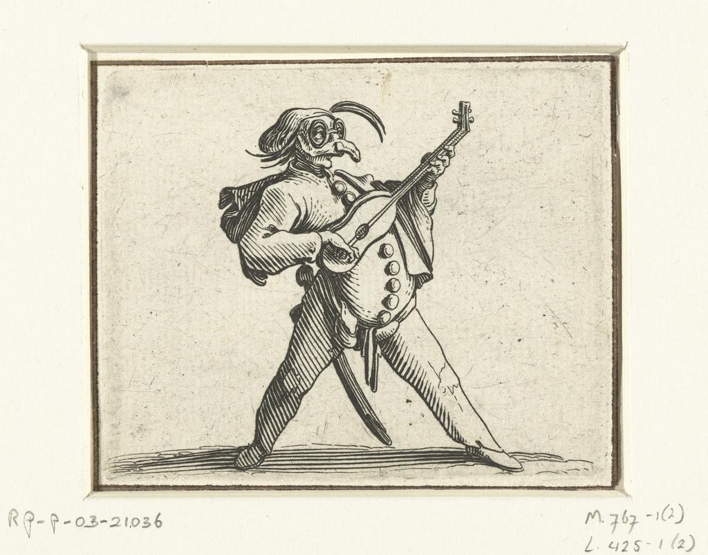 Commedia dell'arte-figuur met gitaar, zwaard en masker
