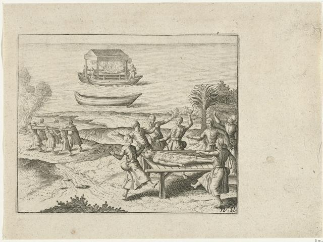 Crematie van de koning te Pegu, 1604