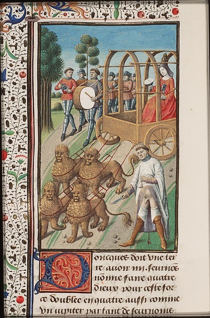 Cybele in a chariot drawn by lions; self-castration of one the Galli, eunuch priests of Cybele