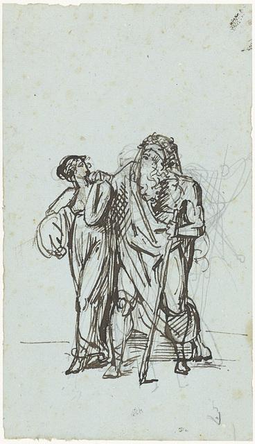 De blinde Oedipus door Antigone geleid