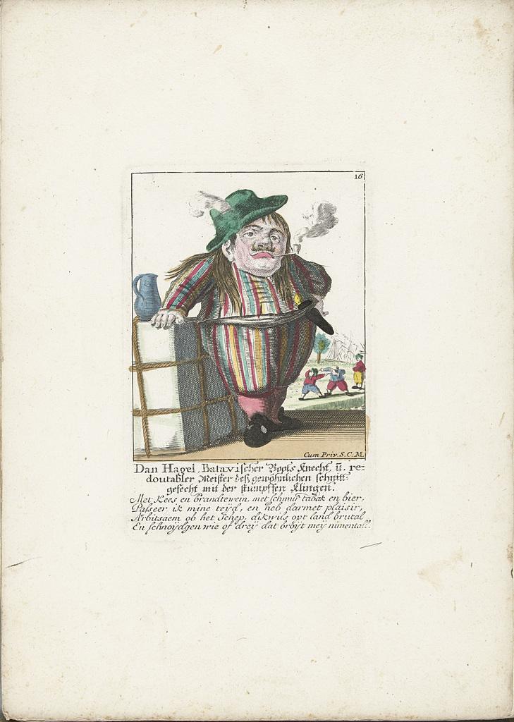 De dwerg Dan Hagel als een Hollandse bootsknecht, ca. 1710