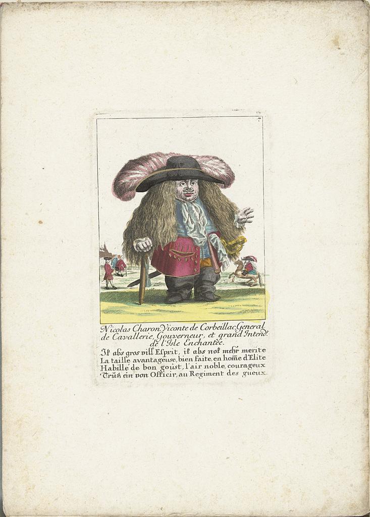 De dwerg Nicolas Charon als een generaal van de cavalerie, ca. 1710