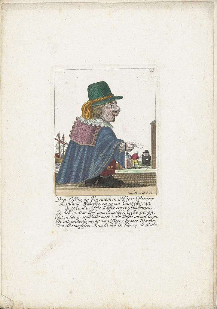 De dwerg Piters Kahlmüß Wisseller als walvisvaarder, ca. 1710
