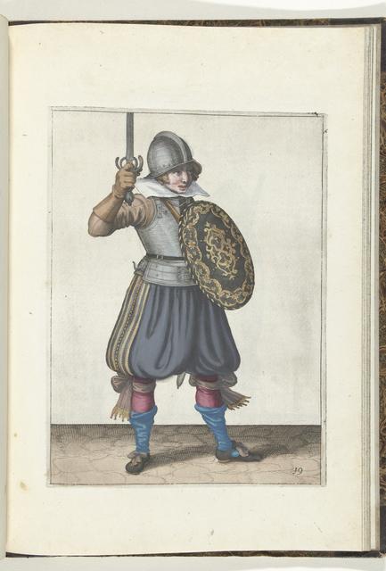 De exercitie met schild en spies: de soldaat presenteert zijn rapier met de hand niet hoger dan zijn gezicht (nr. 19), 1618