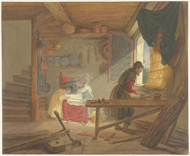 De Heilige Familie in Jozefs werkplaats
