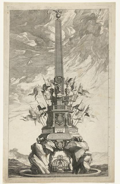 De katafalk voor de overleden Spaanse koning Karel II, 1700
