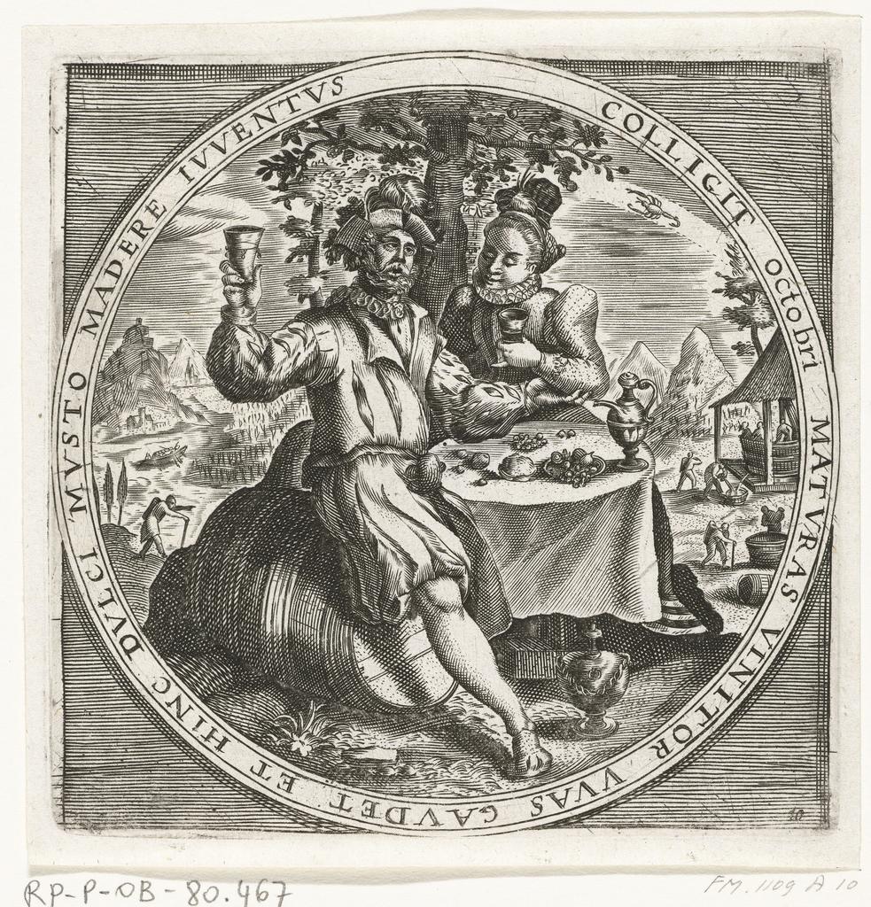 De maand oktober, wijndrinkers, ca. 1600