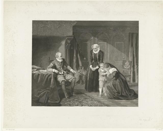 De moeder, vrouw en zoon van Reinier van Oldenbarnevelt smeken Maurits om genade, 1623