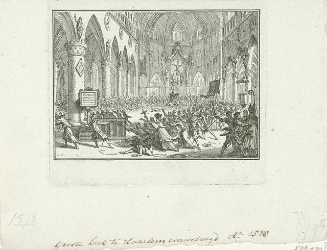 De Sint-Bavokerk in Haarlem bestormd door protestanten, 1578