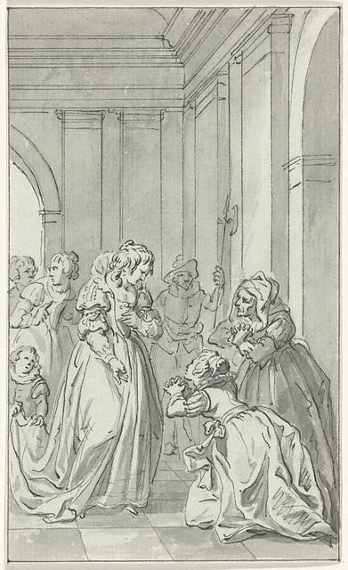 De vrouw en de moeder van Floris de Montmorency, baron de Montigny, smeken Anna van Oostenrijk om voorspraak voor Montigny, die in Spanje gevangen gehouden wordt.