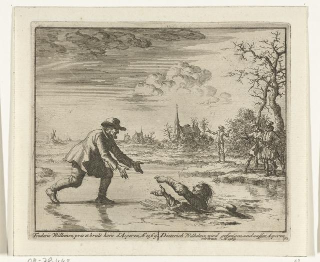 Dirk Willemsz. redt zijn vervolger uit het ijs bij Asperen, 1569