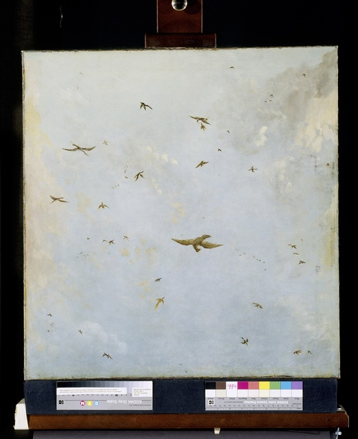 Dolls-house Ceiling-Painting of a Cloudy Sky with Birds