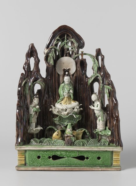 Domestic altar with Guanyin and two attendants