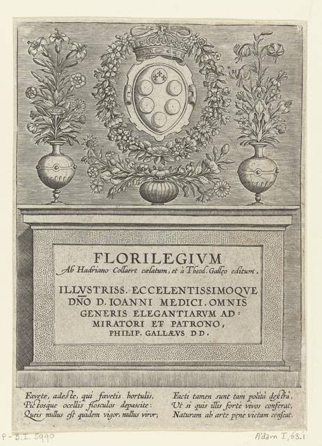 Drie bloemenvazen en het wapen van de Medici