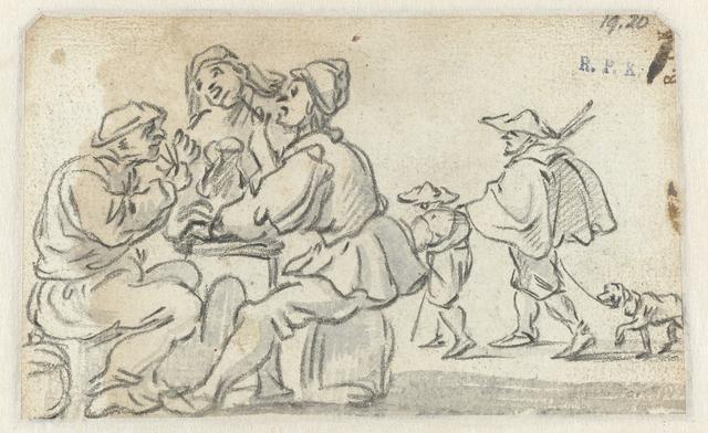 Drie boeren aan een tafel en een man met een hond begeleid door een jongen