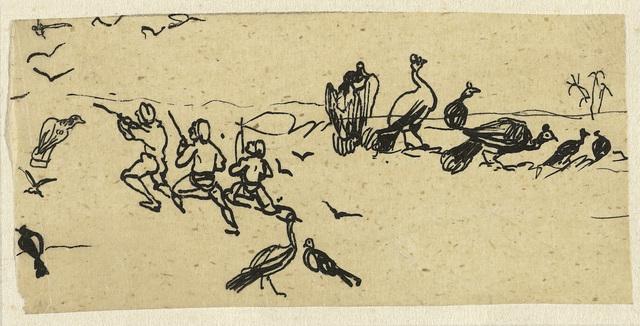 Drie mannen op jacht naar vogels