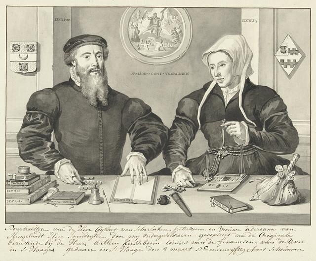 Dubbelportret van Gijsbert Scharlaken Pieterszoon en Adriana van Slingelandt