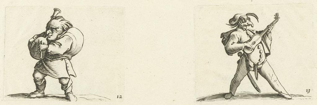 Dwerg met doedelzak; Commedia dell'arte-figuur met gitaar, zwaard en masker