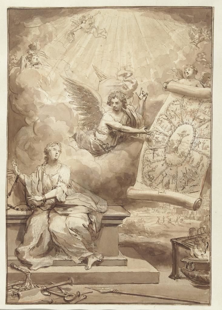 Een engel toont de geketende kerk afbeeldingen van de Martelarendodingen van Christus en de twaalf Apostelen