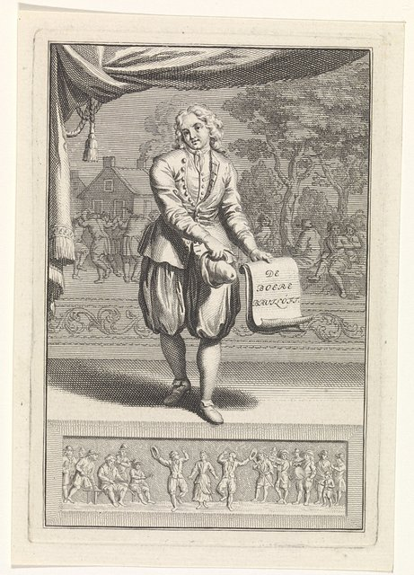 Een figuur op het toneel presenteert de titel van het toneelstuk