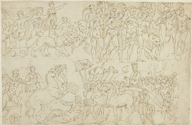 Een fresco en voorstellingen op sarcofagen