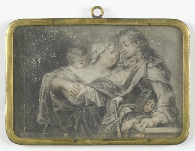Een jonge vrouw die een krijgsman afleidt terwijl een van haar kinderen hem berooft