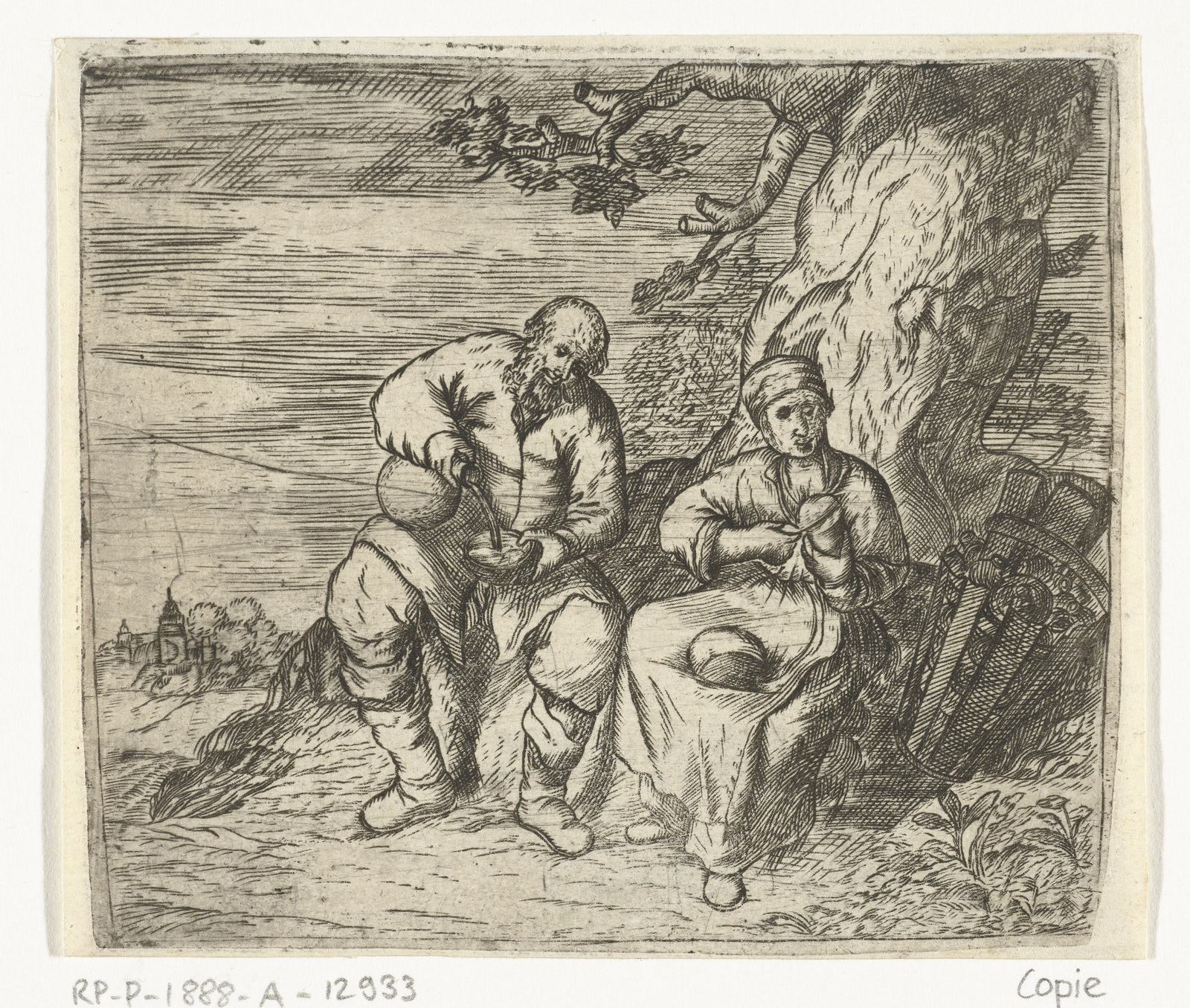 Een man en een vrouw zitten te eten onder een boom
