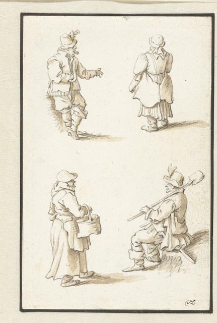 Een man, twee vrouwen en een man met een spade