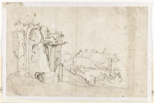 Een ongeïdentificeerde ruïne in Rome; op de achtergrond een deel van de Romeinse stadsmuur