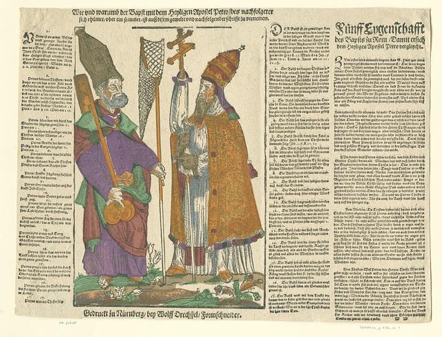 Een pamflet beschrijvende de verschillen tussen Petrus en de paus