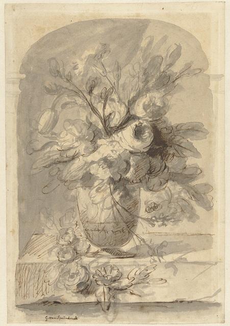 Een vaas met bloemen in een nis