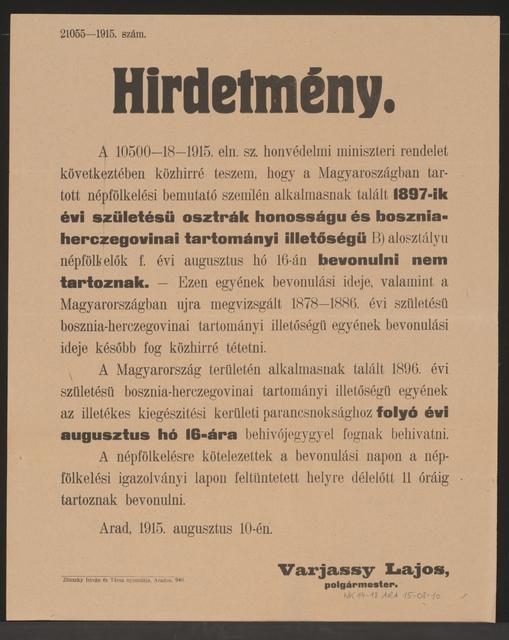 Einberufung - Kundmachung - Arad - In ungarischer Sprache
