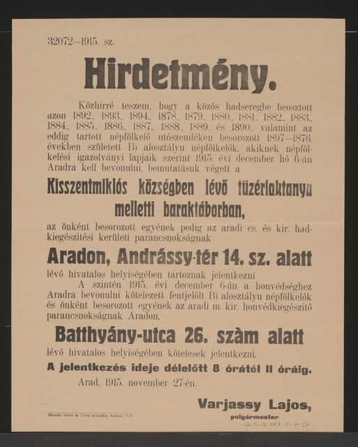 Einberufungsbefehl - Kundmachung - Arad - In ungarischer Sprache