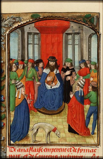 Emperor Anastasius I, pope Symachus and antipope Laurentius